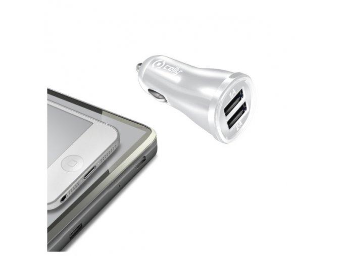 Auto-nabíječka pro iPhone a iPad - CELLY, 2A White
