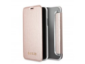 Pouzdro / kryt pro iPhone X - Guess, Iridescent RoseGold Book