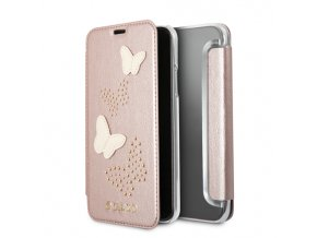 Pouzdro / kryt pro iPhone X - Guess, Studs and Sparkle RoseGold Book