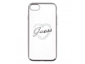 Pouzdro / kryt pro Apple iPhone 7 / 8 - Guess, Heart TPU Silver