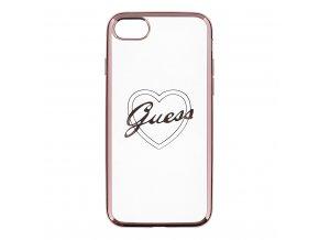 Pouzdro / kryt pro Apple iPhone 7 / 8 - Guess, Heart TPU Rose Gold