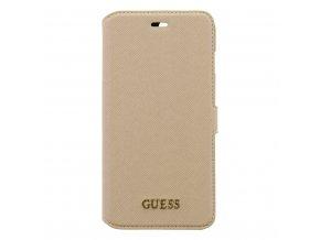 Pouzdro / kryt pro iPhone 7 PLUS / 8 PLUS - Guess, Saffiano Book Beige