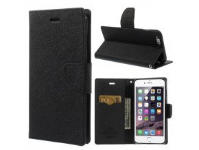Pouzdro / kryt pro Apple iPhone 6 Plus / 6S Plus - Mercury, Fancy Diary BLACK/BLACK