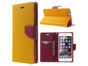 Pouzdro / kryt pro Apple iPhone 6 Plus / 6S Plus - Mercury, Fancy Diary YELLOW/HOTPINK