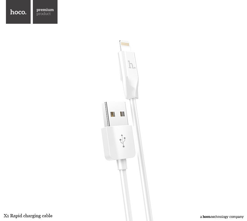 Kabel lightning pro iPhone a iPad bez MFI - Hoco, X1 White 300cm